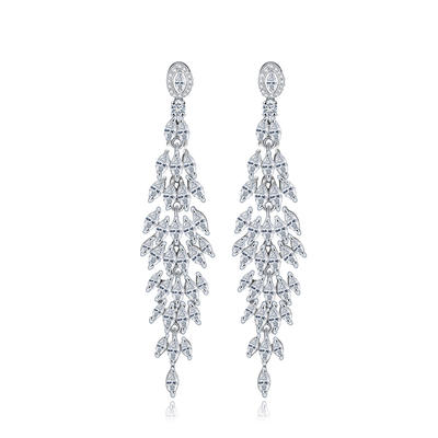 Earrings Copper/Zircon/Platinum Plated Pierced Ladies' Beautiful Wedding & Party Jewelry (011167218)