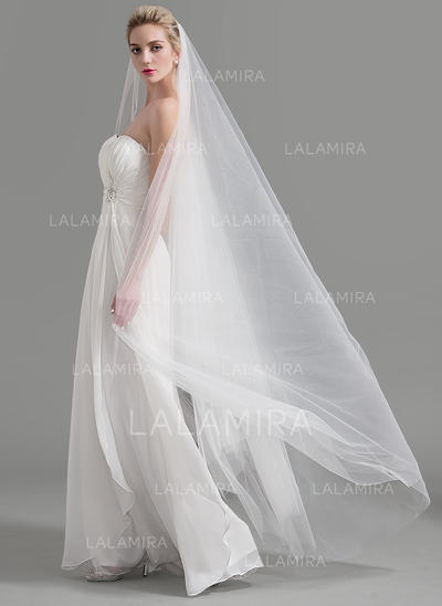 Cathedral Bridal Veils Tulle One-tier Classic/Drop Veil With Cut Edge Wedding Veils (006151947)