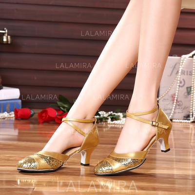 Women's Ballroom Heels Leatherette With Buckle Sequin Dance Shoes (053180785)