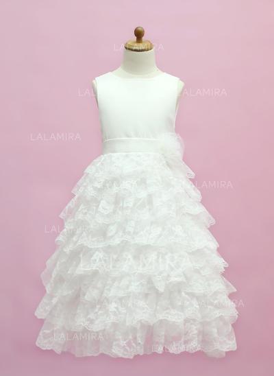 Elegant Scoop Neck A-Line/Princess Satin/Lace Flower Girl Dresses (010005333)
