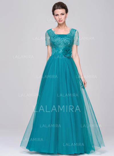 A-Line/Princess Tulle Lace Short Sleeves V-neck Floor-Length Zipper Up Mother of the Bride Dresses (008058392)