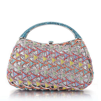 Bridal Purse/Luxury Clutches Wedding/Ceremony & Party Crystal/ Rhinestone/Alloy/Silver Plated Magnetic Closure Elegant Clutches & Evening Bags (012185808)