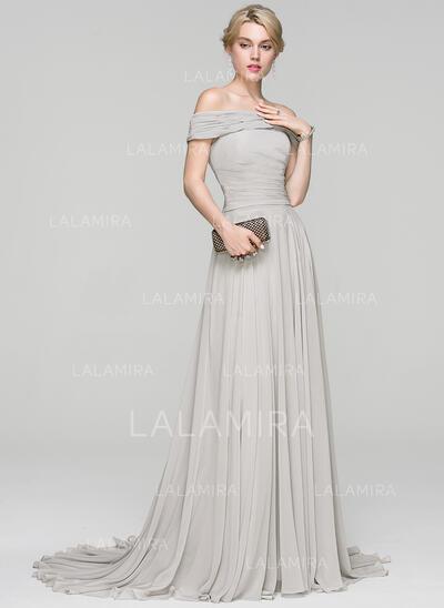 A-Line/Princess Off-the-Shoulder Court Train Chiffon Evening Dress With Ruffle (017093460)