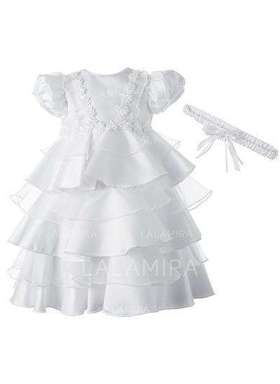 Satiné Col rond Fleur(s) Robes de baptême bébé fille avec Manches courtes (2001216861)