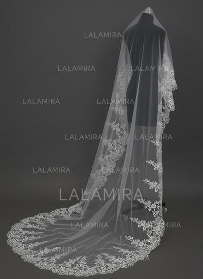 Catedral véus de noivas Tule Uma camada Clássico/Véu solto com Borda com aplicação de renda Véus de casamento (006034449)