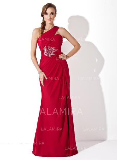 Sexi Un hombro Corte trompeta/sirena Gasa Vestidos de madrina (008211212)