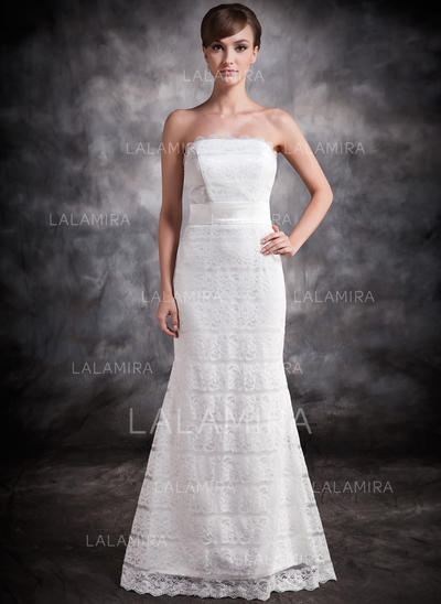 Trumpet/Mermaid Lace Strapless Sleeveless Evening Dresses (017016878)