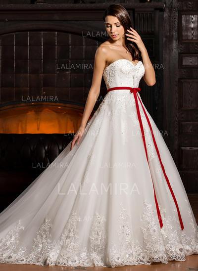 corazón corte de baile vestidos de novia tul cuentas los appliques