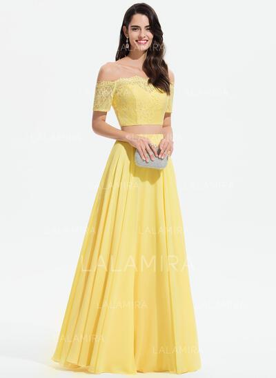 Corte A Off-the-ombro Longos Tecido de seda Vestido de baile com Renda (018175906)