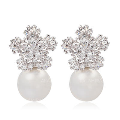 Earrings Pearl/Zircon/Platinum Plated Pierced Ladies' Snowflakes Shaped Wedding & Party Jewelry (011164942)