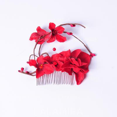 """Peines y pasador/Flores y plumas Boda/Ocasiones especiales/Fiesta Flores de seda 3.15""""(Aprox.8cm) 2.36""""(Aprox.6cm) Cintillos (042063443)"""