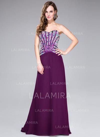 Magnificent A-Line/Princess Chiffon Sweep Train Sleeveless Prom Dresses (018044961)