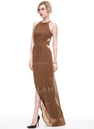 A-Line Scoop Neck Asymmetrical Chiffon Evening Dress With Ruffle (017077866)