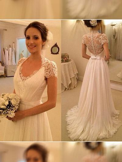 Halagador Corte A/Princesa con Gasa Vestidos de novia (002144819)