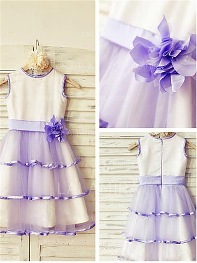 Scoop Neck A-Line/Princess Flower Girl Dresses Satin/Tulle Flower(s) Sleeveless Tea-length (010211945)