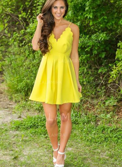 Princess Satin Homecoming Dresses A-Line/Princess Short/Mini V-neck Sleeveless (022217552)