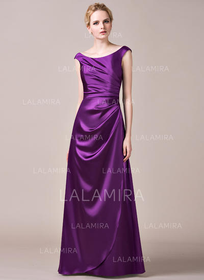 Floor-Length A-Line/Princess Sleeveless Charmeuse Bridesmaid Dresses (007198396)