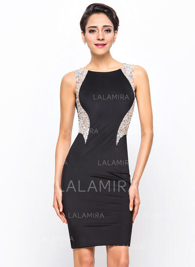 Sheath/Column Scoop Neck Knee-Length Jersey Cocktail Dress With Beading Sequins (016055916)