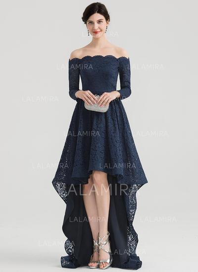 Corte A Off-the-ombro Assimétrico Renda Vestido de festa (017153658)