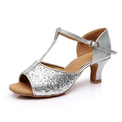 Women's Latin Heels Sandals Sparkling Glitter With T-Strap Dance Shoes (053179206)
