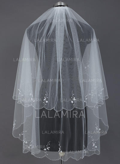 Fingertip Bridal Veils Tulle Two-tier Classic With Scalloped Edge/Beaded Edge Wedding Veils (006151594)