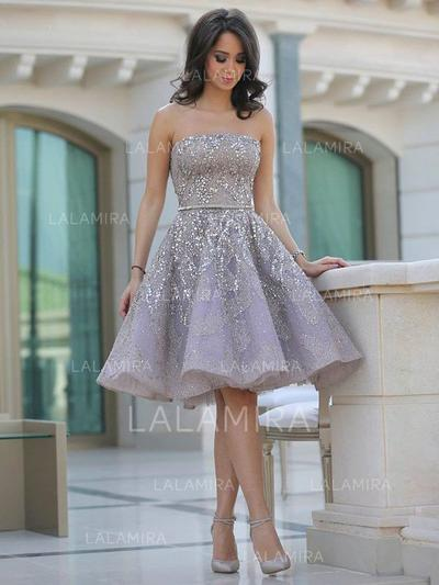 A-Line/Princess Strapless Short/Mini Satin Homecoming Dresses With Ruffle Sash Beading (022212376)