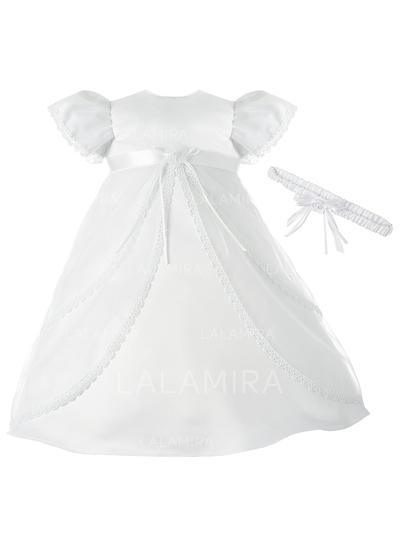 Satiné Col rond Robes de baptême bébé fille avec Manches courtes (2001216863)