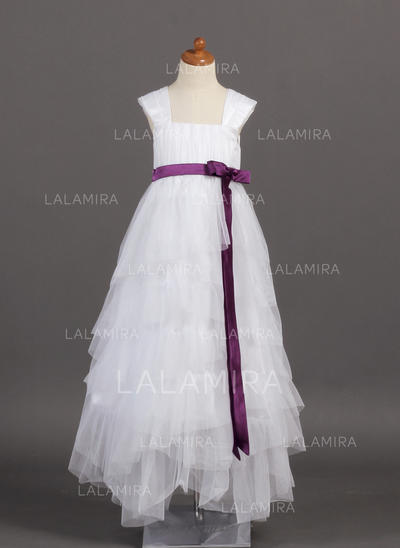 2018 New Square Neckline A-Line/Princess Flower Girl Dresses Floor-length Tulle/Charmeuse Sleeveless (010005782)