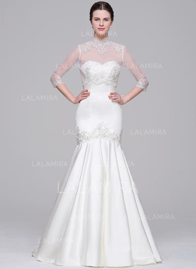 Court Train Trumpet/Mermaid Satin Flattering Wedding Dresses Sleeveless (002071542)