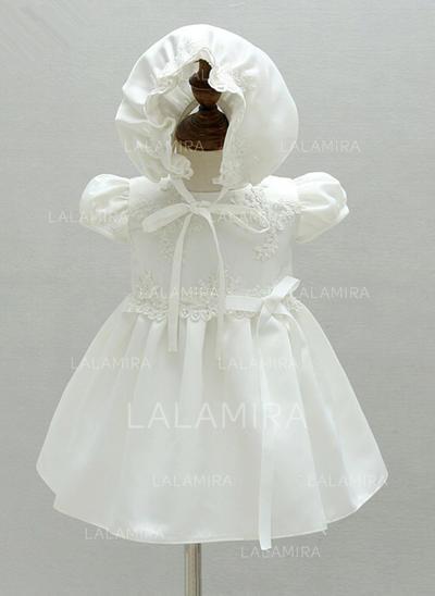 Cetim Decote redondo fecho de correr Vestidos de batismo do bebê com Manga curta (2001216843)