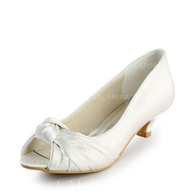 Women's Peep Toe Sandals Low Heel Satin With Bowknot Wedding Shoes (047203024)