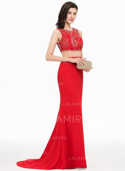 Trompete/Sereia Decote redondo Sweep/Brush trem Tecido de seda Vestido de baile com Beading lantejoulas (018156780)