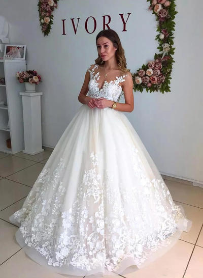 A-Line/Princess Tulle Sleeveless V-neck Court Train Wedding Dresses (002147997)