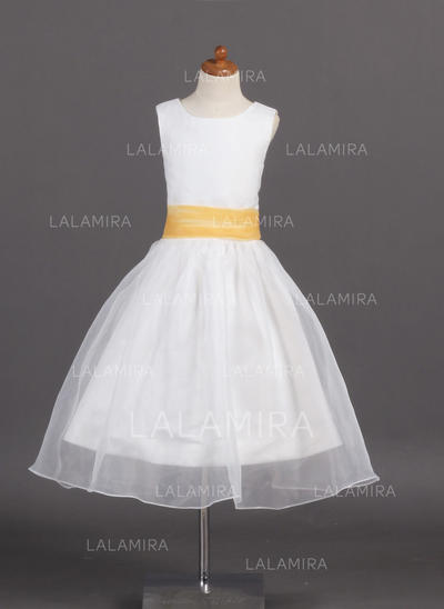 Tea-length Scoop Neck Organza/Satin Flower Girl Dresses With Sash (010007925)