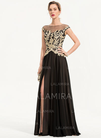 Corte A Decote redondo Longos Tecido de seda Vestido de festa com Frente aberta (017186129)