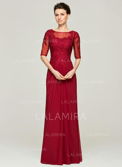 A-Line/Princess Scoop Neck Floor-Length Chiffon Lace Mother of the Bride Dress With Ruffle Beading (008062571)