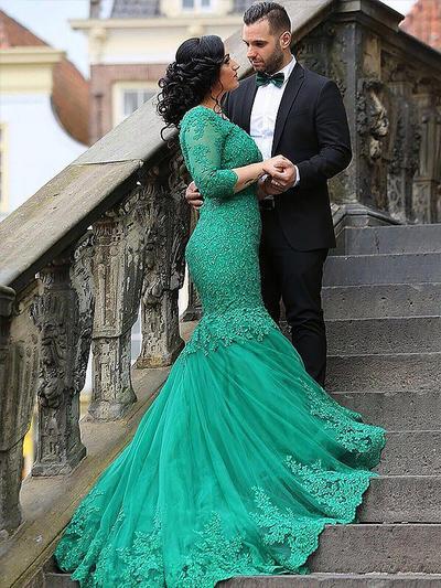 Delicate Appliques Trumpet/Mermaid Tulle Prom Dresses (018210370)
