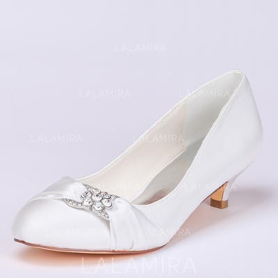 Women's Closed Toe Pumps Kitten Heel Satin With Rhinestone Wedding Shoes (047208331)
