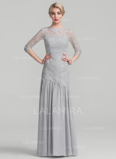 Trumpet/Mermaid Scoop Neck Floor-Length Chiffon Lace Mother of the Bride Dress With Ruffle (008107663)