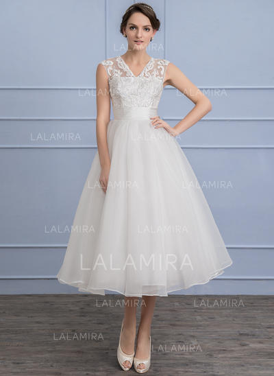 Organza Lace A-Line/Princess With Delicate General Plus Wedding Dresses (002107851)
