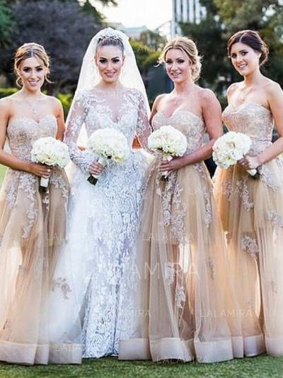 Sweetheart General Plus A-Line/Princess Tulle Sleeveless Bridesmaid Dresses (007145008)