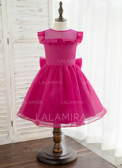 A-Line Knee-length Flower Girl Dress - Organza Sleeveless Scoop Neck With Bow(s) (010172341)