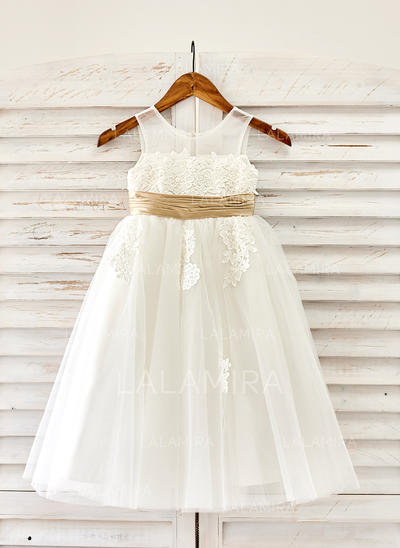 Scoop Neck A-Line/Princess Flower Girl Dresses Tulle Appliques Sleeveless Tea-length (010211617)