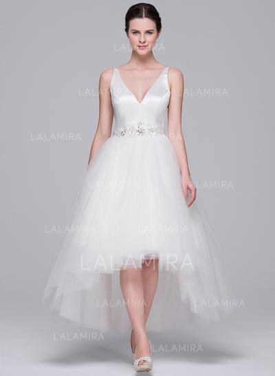 Assimétrico Vestidos princesa/ Formato A Cetim Tule Chic Vestidos de noiva Sem Mangas (002071566)