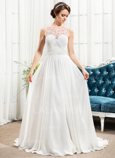 Fashion Chiffon Wedding Dresses With A-Line/Princess Scoop Neck (002210600)