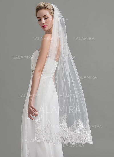 Waltz Bridal Veils Tulle One-tier Classic With Lace Applique Edge Wedding Veils (006151934)