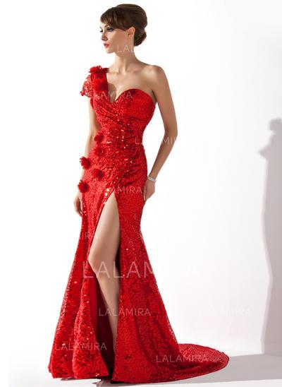 Sequined Short Sleeves Trumpet/Mermaid Evening Dresses Court Train (017200400)