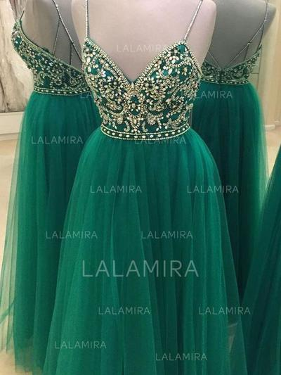 Tulle V-neck A-Line/Princess Magnificent Prom Dresses (018210322)