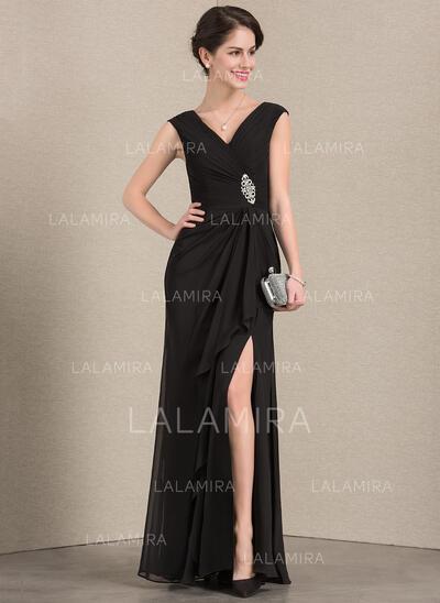 V-neck Floor-Length Chiffon Evening Dress