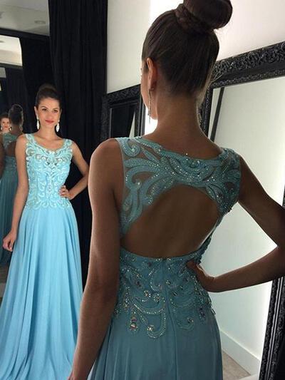 A-Line/Princess Chiffon Scoop Neck Regular Straps Prom Dresses (018210296)